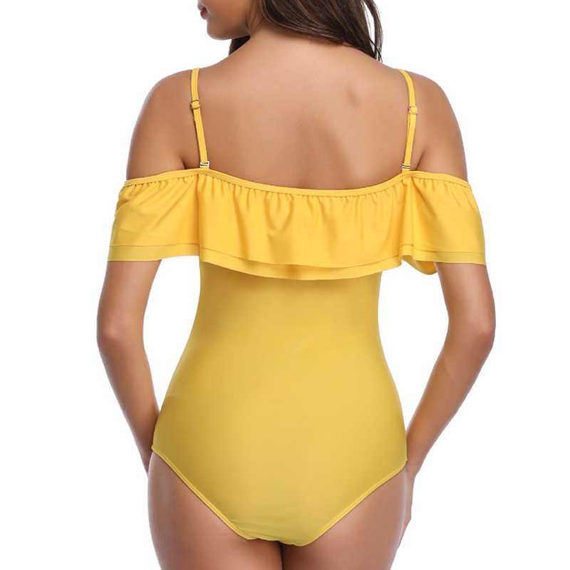 Off ramię jeden kawałek strój kąpielowy Plus Size Badpak mogą połączone kobiety wzburzyć stroje kąpielowe 2019 kobiet Monokini strój kąpielowy na plaży XL