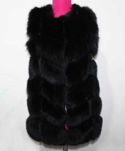 Linhaoshengyue 73 см длинные Высокое качество меха лисы Жилет натуральным лисьим мехом женские жилет - Цвет: black