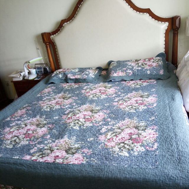 MILAIYA Cotton Quilted Coverlet King Size Bed Spread Korea Style Floral  Elegant Bedding Set Summer Quilt
