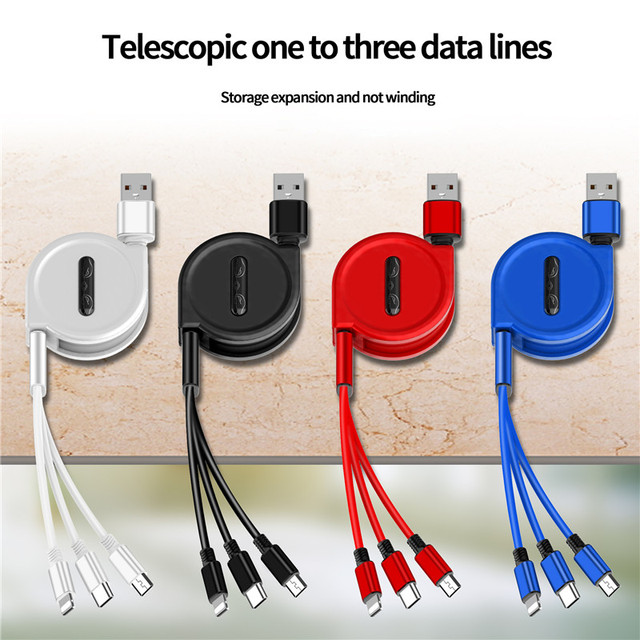 120cm 3 In 1 USB Charge Cable for iPhone Micro USB USB C Cable Retractable Portable