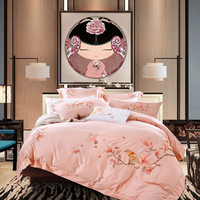 Luxury 60S Exquisite Embroidery The Bird Bedding Set Pink Duvet Cover Bed Linen Bedsheet Pillowcases King Queen Size 4PCS