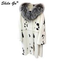 С элегантными меховыми вставками, Женское зимнее пальто, Модное детское платье в горошек в целом из натурального меха норки X длинное пальто