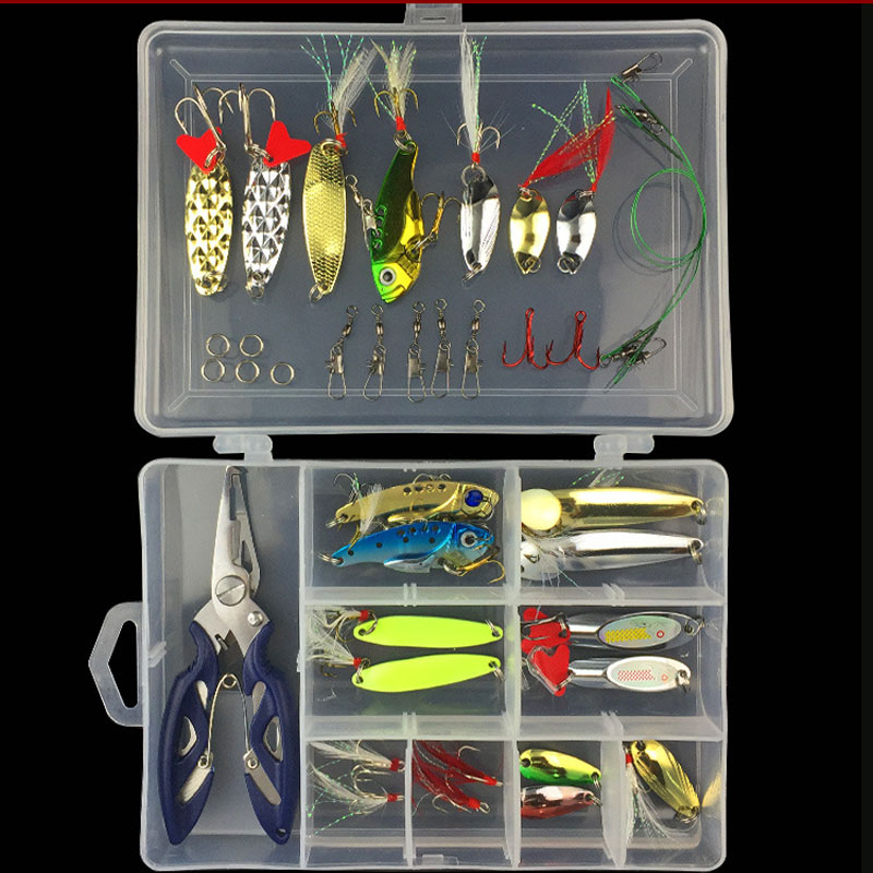 Fishing Suit Lure Kit Spoon Spinner VIB Jigbait Metal 38 Lures Pliers Accessories For Freshwater fishing lure kit single tail lead fish soft bait vib 33 pieces lures accessories pliers