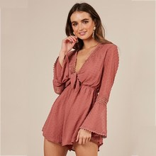 White Sexy Transparent Short Jumpsuit Women  Long Sleeve V Neck Lace Up Rompers Casual Striped Loose Watermelon Red Playsuit
