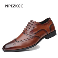 NPEZKGC brand plus size 39 48 men dress flats genuine leather formal business pointed toe wedding shoes men's oxford flats
