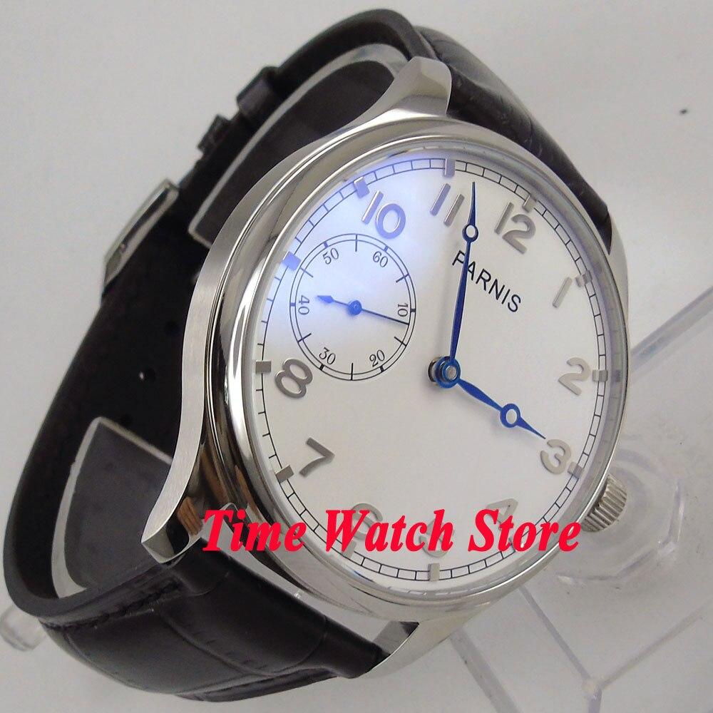 44 мм Parnis 17 jewels 6497 с ручным заводом мужские часы с белым циферблатом Синий кожаный ремешок 899 - 2