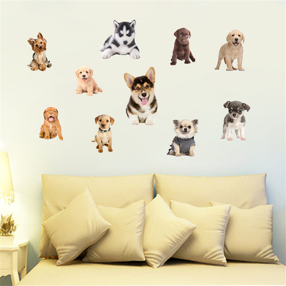 Cute Funny 3D Dog Cat Door Wall Sticker Lovely Huskies Koji Pet Dog ...