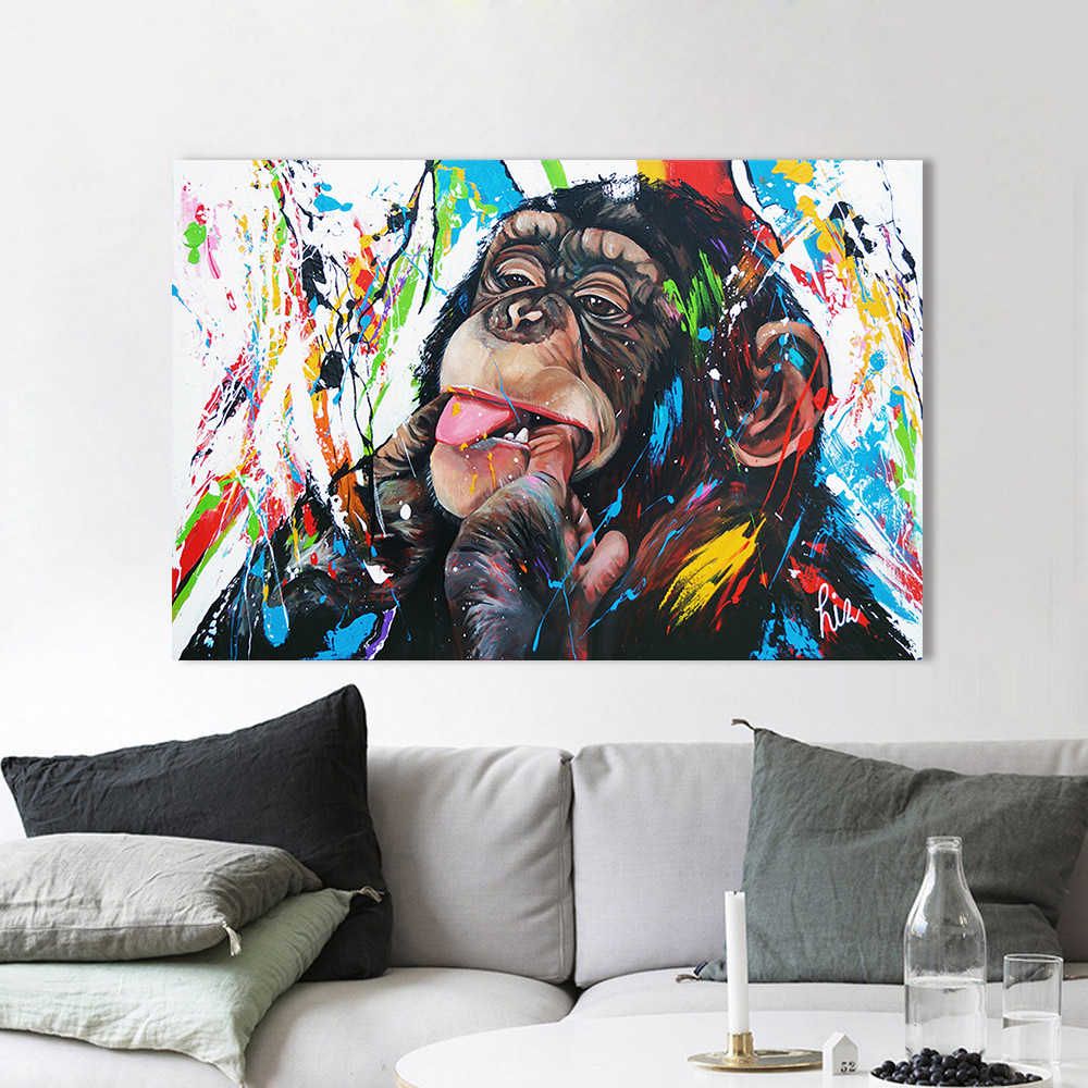 AAVV Wall Art Canvas Painting Chimp Animal Picture Prints Home Decor No Frame