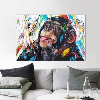AAVV Muur Canvas Schilderij Chimpansee Dier Foto Prints Home Decor No Frame
