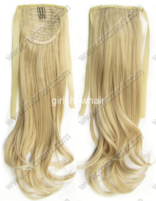 Hair Ribbon Ponytail Hair Extension With Clip Wavy A Level Layer