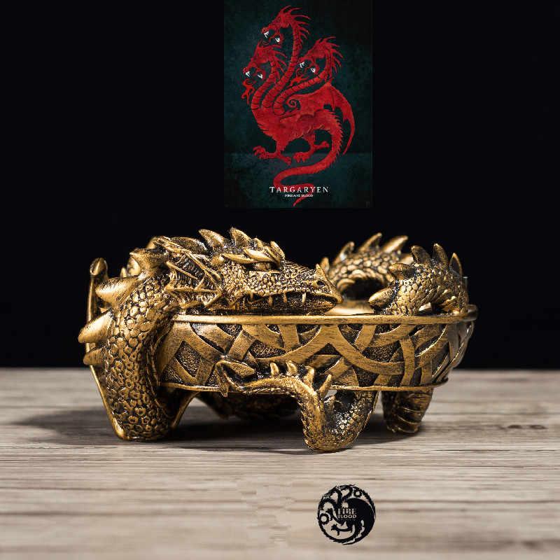 لعبة جديدة من عروش Daenerys Targaryen التنين الملكة Viserion ريغال تأثيري التنين الراتنج منفضة سجائر التخزين الدعائم لعبة الديكور