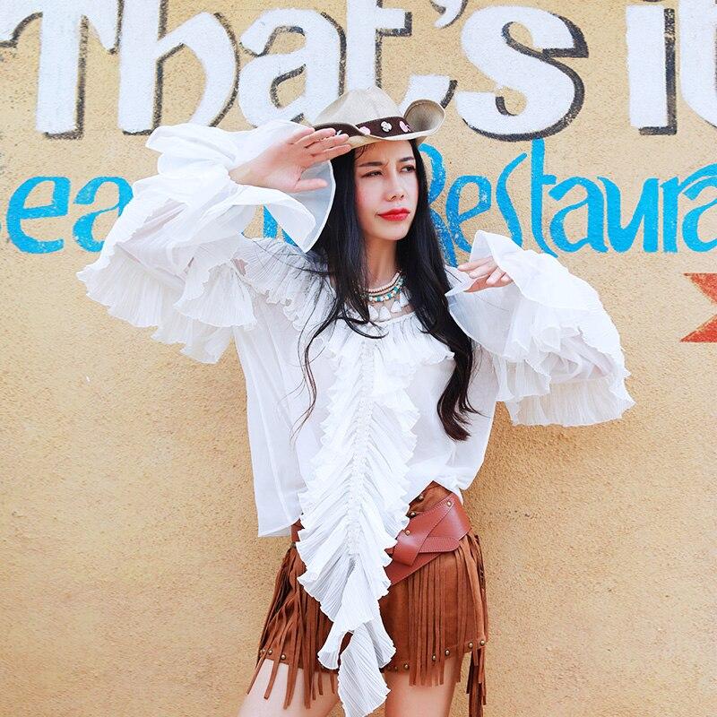 Livraison gratuite 2018 nouveau printemps et été nouvelles chemises de mode pour les femmes chemises à volants à manches longues lanterne Blouses blanches hauts M-L
