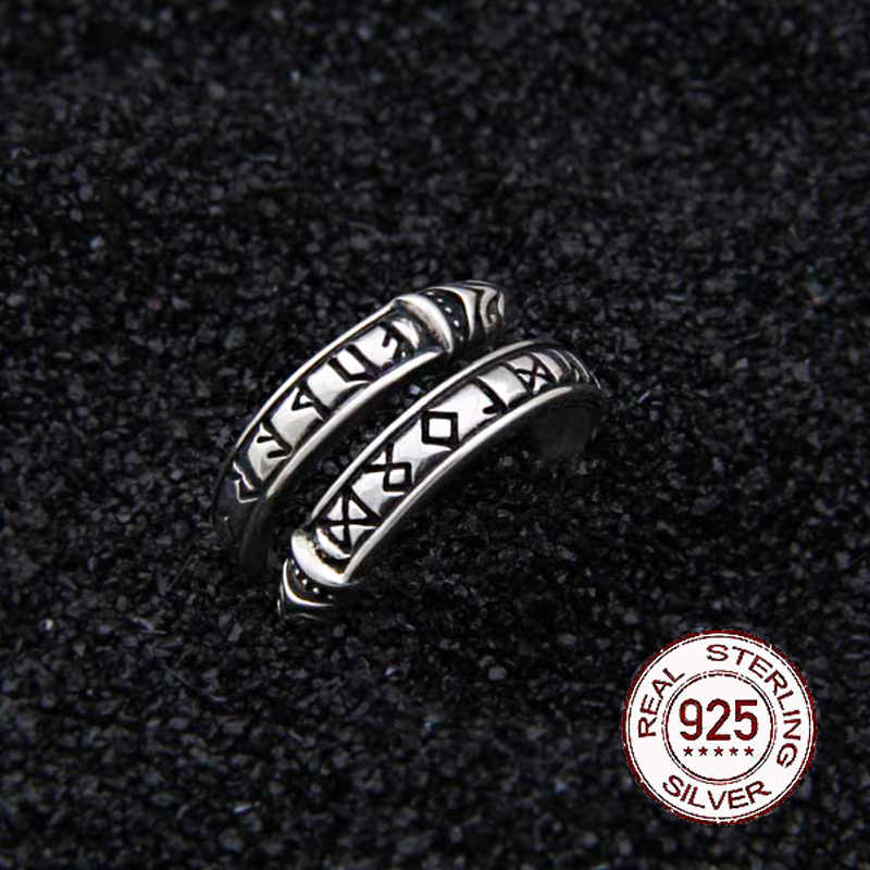 Nyata 925 Sterling Silver Viking Naga Rune Cincin Adjustable dengan Viking Kotak