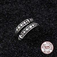 Echt 925 Sterling Silber Viking Drachen Rune Ring Einstellbar mit Viking box