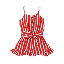 2019 New Toddler Kid Baby Girl Clothes Sleeveless Striped Jumpsuit Ruffle Strap Playsuit Summer Holiday Chiffon Outfit 3-8Y недорого