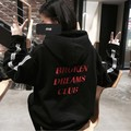 Harajuku letters print autumn winter tops loose outerwear fleece pullovers hooded Sweatshirt women/men clothing