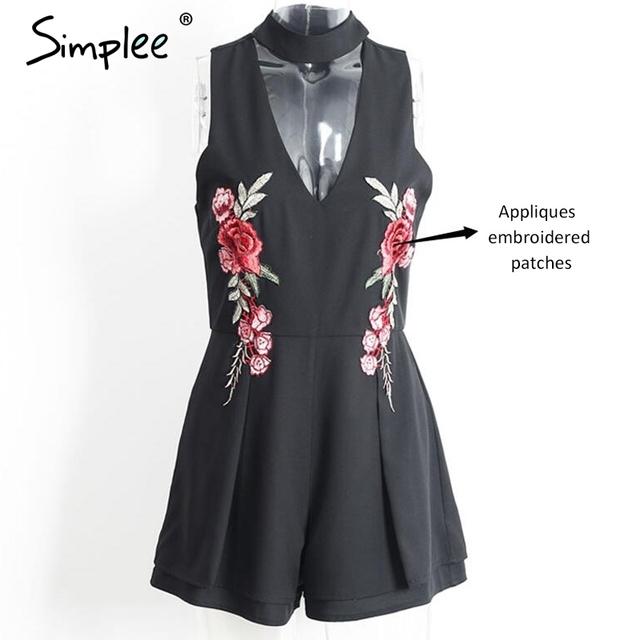 Simplee Halter elegant jumpsuit romper 2017 Hollow out embroidery playsuit for women deep v overalls short leotard
