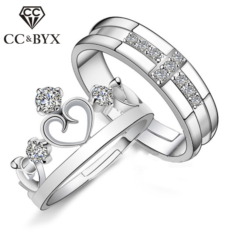 CC Crown Wedding Rings For Women Prince And Princess Lovers Lettering Pair Ring Bridal Jewelry Engagement Bijoux Femme CC741