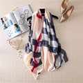 Spring Silk Scarf European Fashion Ladies Silk Scarves Soft Plaid Stripes Printed Shawl Female Sunscreen Women Scarves