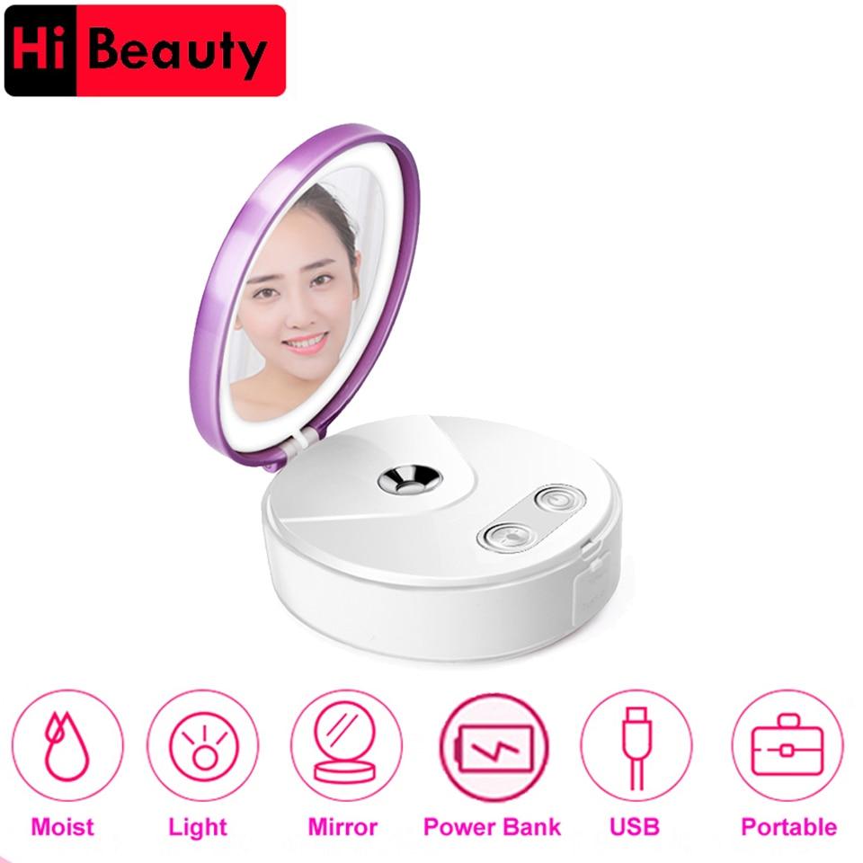 1PC Multi Functional Portable Makeup Cosmetic Lights Mirror Nano Mist Sprayer Facial Body Steamer Moisturizing Face Power Bank