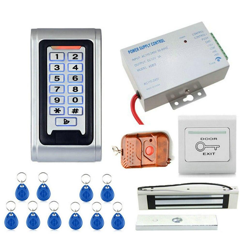 Kit de système de contrôle d'accès de porte de clavier numérique RFID étanche en métal avec serrure magnétique de Force électrique 600Lbs 280 KG avec télécommande