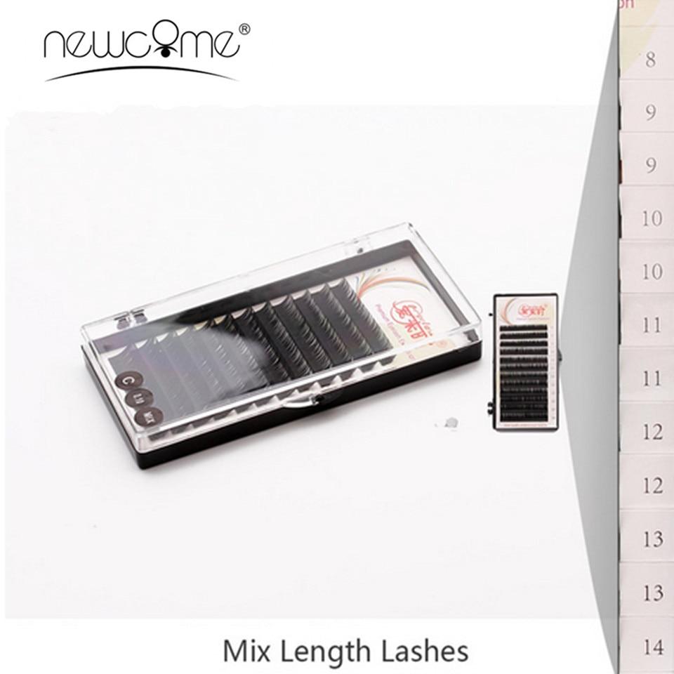 Alla storlekar Mix-Length Eyelash Extensions Koreanska Silk Mink Lahes B / C / D False Eye Lash Volym Ögonfrans Smink Verktyg Cilios
