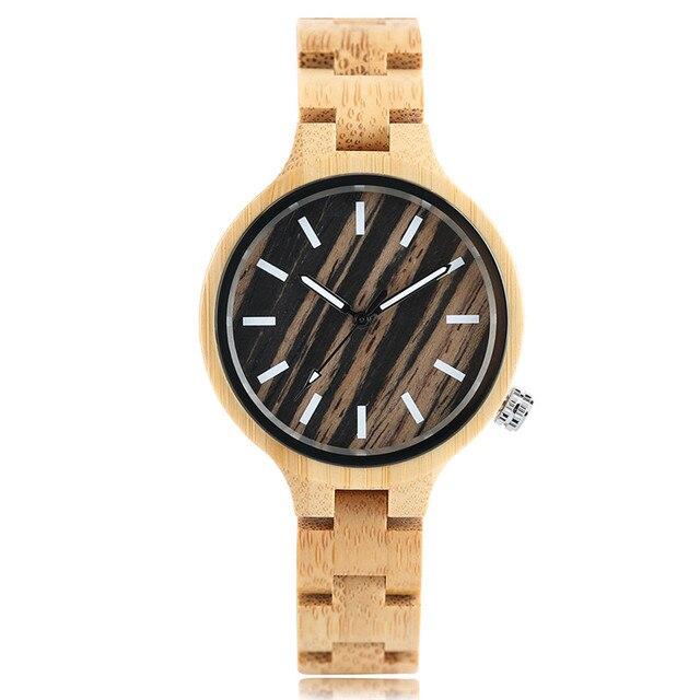 YISUYA reloj de madera para mujer reloj creativo de sándalo rojo y bambú de cuarzo para mujer