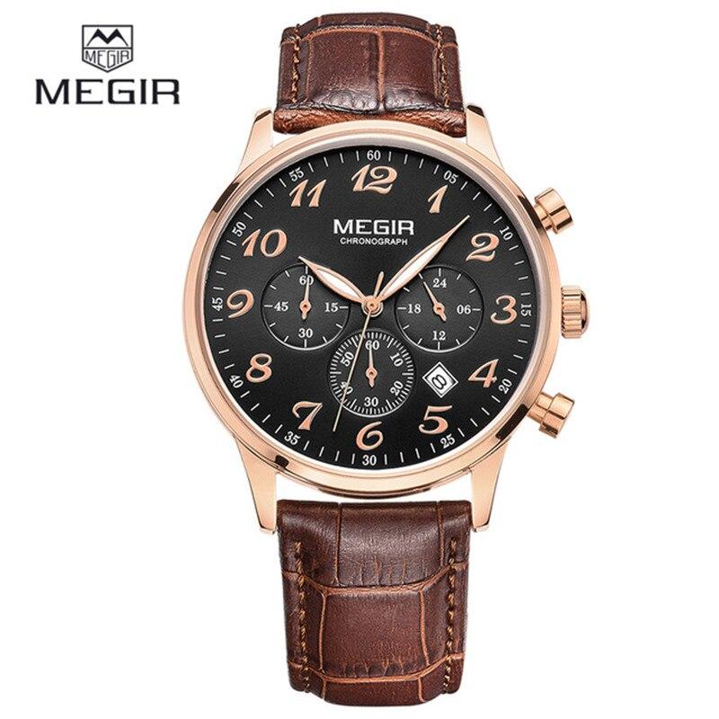 цена на MEGIR Top Casual Chronograph Leather Watches Men Luxury Brand Fashion Sports Calendar Men's Quartz Wrist Watch Relogio Masculino