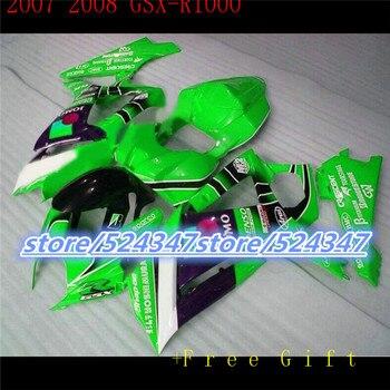 Hot sales GSX - R1000 K7 07, 08 GSX R1000 fairing kit K7 07-08 green black  white sport bike cheap motorcycle at 3 o 'clock