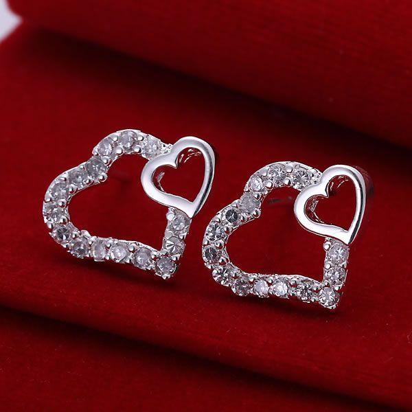 925 ювелирные изделия с серебряным покрытием, оптовая продажа, Бесплатная доставка, серьги-кольца для женщин и мужчин, инкрустированные Двойные серьги в форме сердца, E104/aeoaivva aenaivua