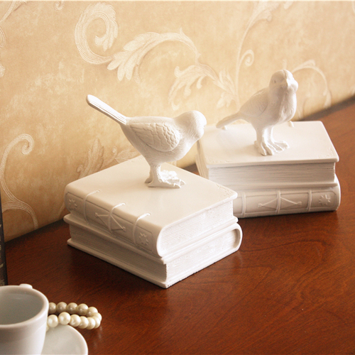 2PCS SET European Study Of High Grade Office Decorations Resin Crafts Ornaments Retro Bird by Furnishing