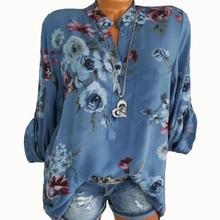 Summer Women Tops Blouses 2019 Autumn Elegant Long Sleeve Print V-Neck Chiffon Blouse Blusa Casual Loose Shirts Plus Size 5XL стоимость