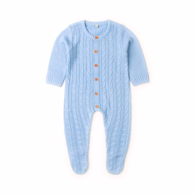 919cc3853579 Newborn Infant Baby Girl Boys Rompers Spring Cable Knit Toddler One Piece  Onesie Costumes Autumn Full Sleeved Baby Jumpsuit 0-2T