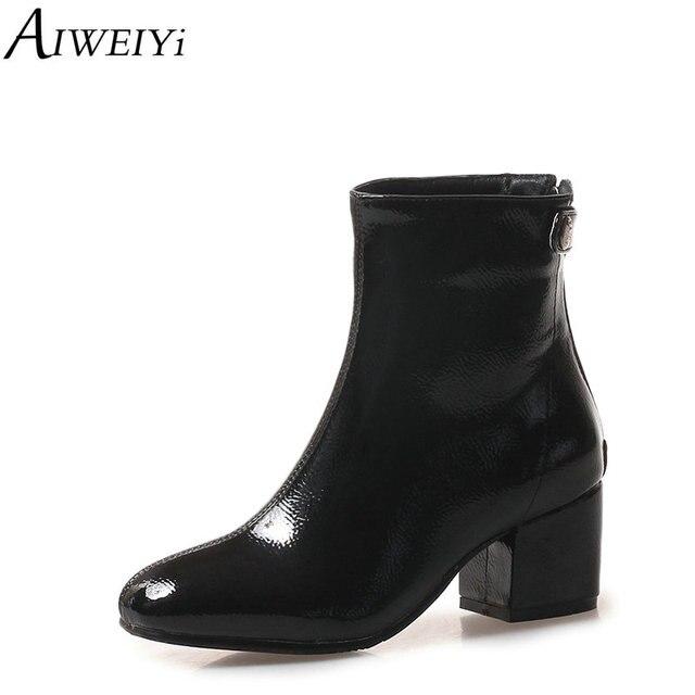 el más nuevo 39f09 21591 AIWEIYi Otoño Invierno moda punta redonda tacón grueso tacones altos  botines negro rojo Tacón cuadrado zapatos de mujer