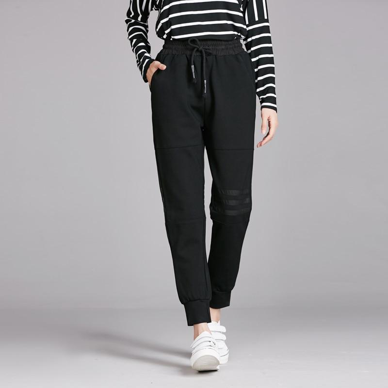 2018 Spring Women New Harm Pants Stretch Mid-Waist Casual Black Trousers Pants female Classic Loose jogging Pants Plus Size