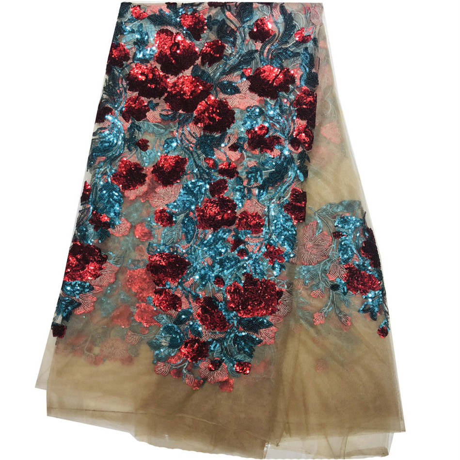 2019 High Quality Lace Beaded Cloth With Beautiful Pattern African Lace Fabric With Beads French Lace Fabric For Black Women