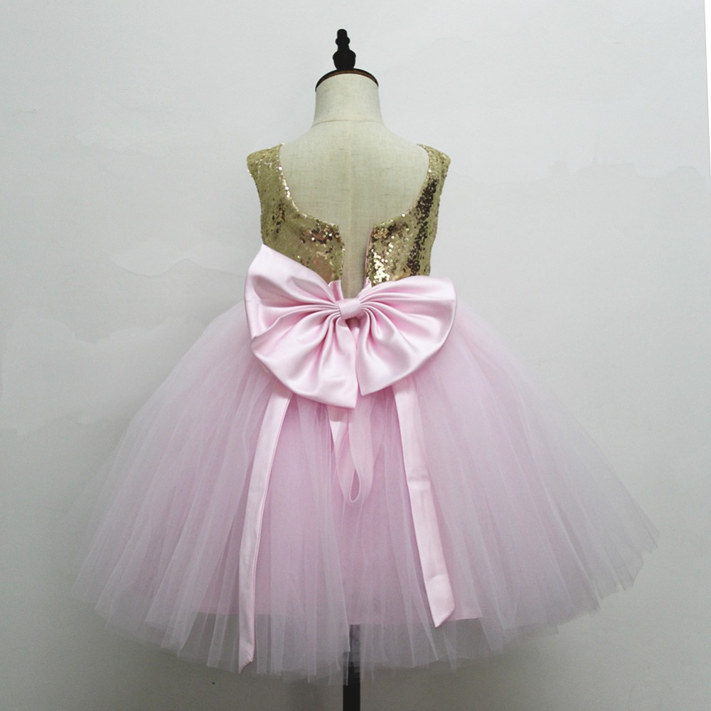 Pink Teen Wedding Dress Sequin Knee Length O-neck Paillette Girls Sequin Dress for Girls Sequin Evening Dress Tutu with Bowknot (15)