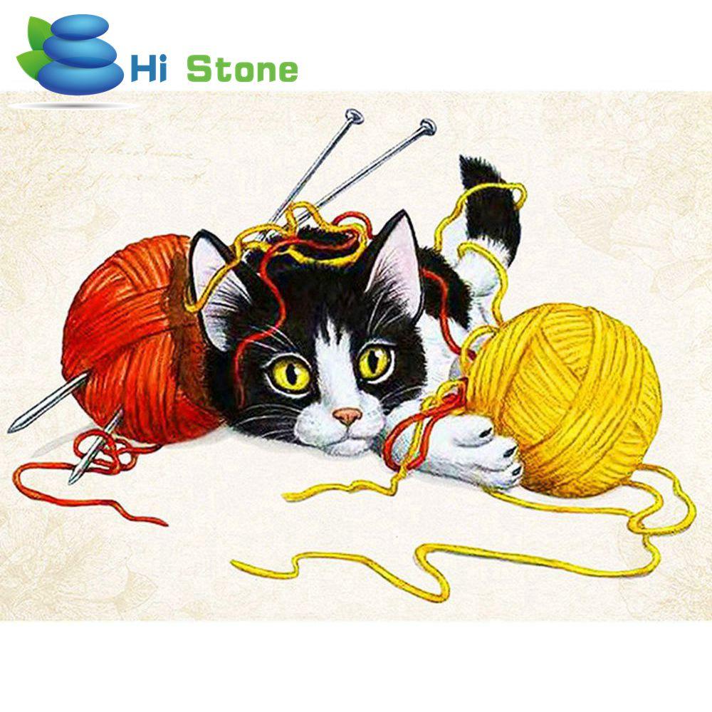 5d diy Алмаз Живопись животных полный квадратный вышивки крестом алмазов вышивка кошка линии мяч мозаичные украшения подарок