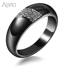 A&N Fashion Ceramic Rings Black Ceramic Rings For Women Stainless Steel Rings Zircon Cabochon Christmas Gift Anniversary Present