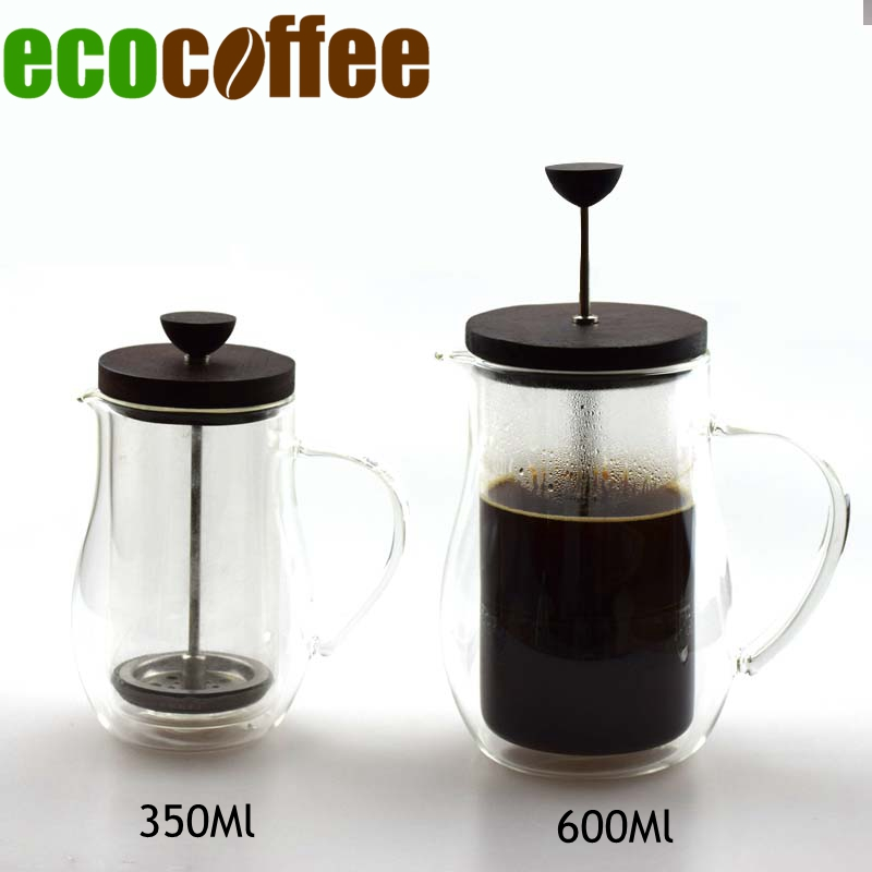 High Quality Double Glazing 350 600ML Coffee French Press Wood Cover Coffee Plunger