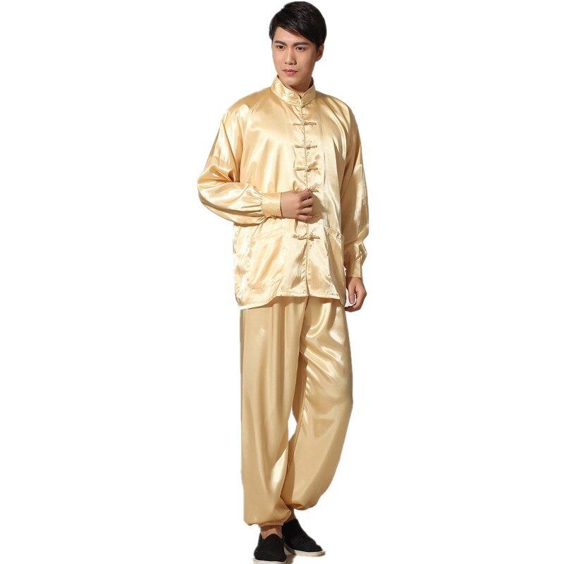 Mutter & Kinder WunderschöNen Neue Traditionellen Chinesischen Herren Satin Rayon Kung Fu Anzug Vintage Lange Hülse Tai Chi Wushu Einheitliche Kleidung M L Xl Xxl 3xl L070629