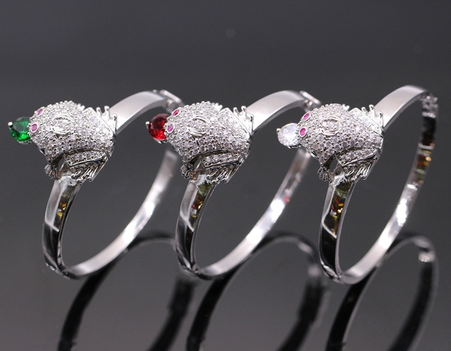 Fashion Simple Platinum Plated Green/Red AAA Cubic Zirconia Crystal Frog Bracelet Bangle For Women