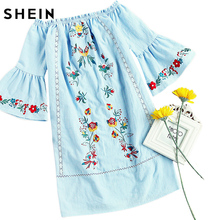 SHEIN Off the Shoulder Boho Dress Three Quarter Length Sleeve Embroidery Trumpet Sleeve Lace Insert Straight Dress