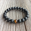 High Quality Jewelry Handmade Men's 10mm Beads Bracelets With One Tiger eye bead And Real Matte Black Onyx Natural Stone Jewelry