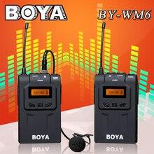 Boya by-wm6 ultra alta frecuencia uhf sistema de micrófono de solapa inalámbrico para cámara canon nikon sony dslr grabadora de audio