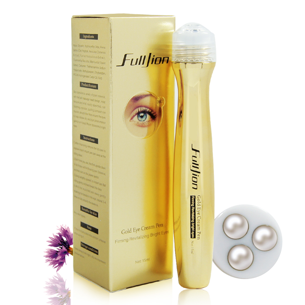 Fulljion Gold Roll Ball on Eye Cream Anti Aging Dark Circle Essence Crystal Collagen Remove wrinkles activating eye cream 10ml