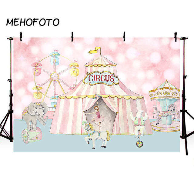 MEHOFOTO Circus Birthday Photography Backdrops Baby Shower Girl Pink Party Decor Background for Photo Booth Custom Backdrop