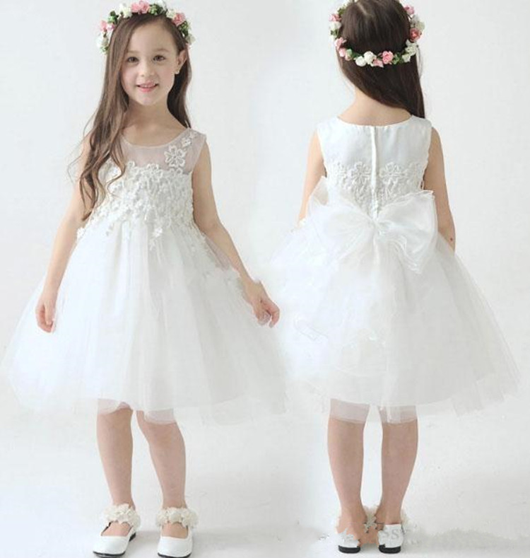 New Pure White Tulle   Flower     Girl     Dress   with Lace Appliques Bow Zipper Back Cheap Price Customized Princess   Dress   Knee Length