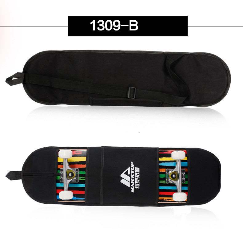 "Image 5 - New Black Skateboard Carrying Bag 4 Wheels Skateboard Bag 31""x8"" Skateboard Double Rocker Backpack-in Skate Board from Sports & Entertainment"