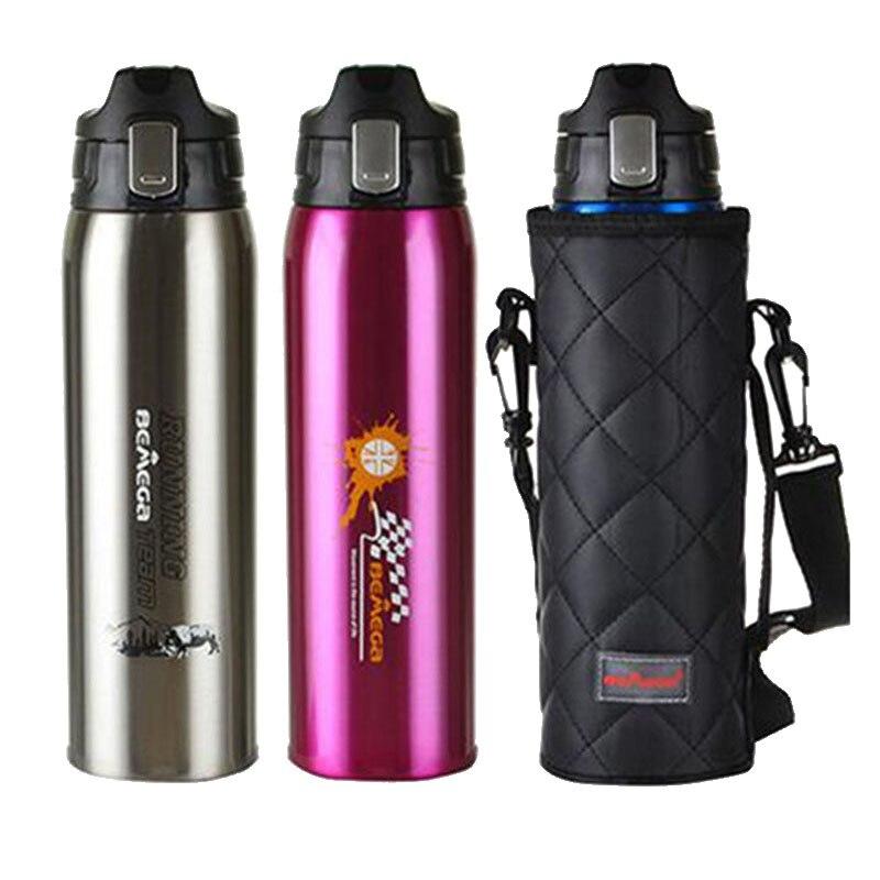 Termo de acero inoxidable de 1000 ml, termo aislado, botella de termo, bolsa portátil para deportes al aire libre, botella de agua potable, botella de vacío